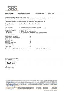 Tessuto in verde scuro per i certificati SGS Jacket